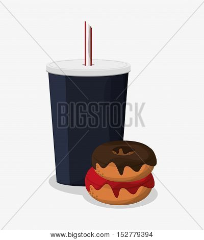 Donut and soda icon. Fast food menu and market theme. Colorful design. Vector illustration