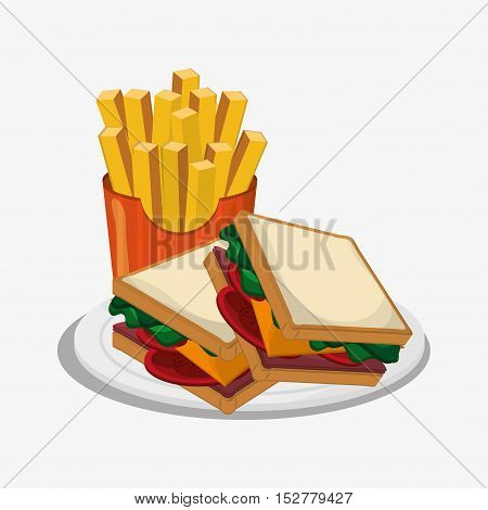 Sandwich and french fries icon. Fast food menu and market theme. Colorful design. Vector illustration