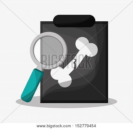 History document and lupe icon. Medical and health care theme. Colorful design. Vector illustration