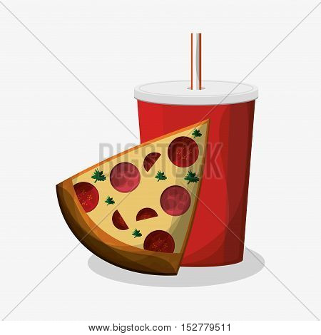 Pizza and soda icon. Fast food menu and market theme. Colorful design. Vector illustration