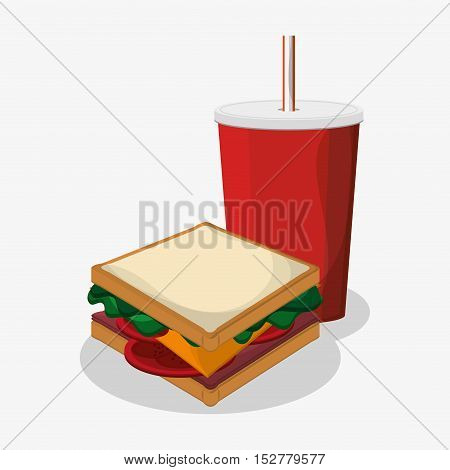Sandwich and soda icon. Fast food menu and market theme. Colorful design. Vector illustration