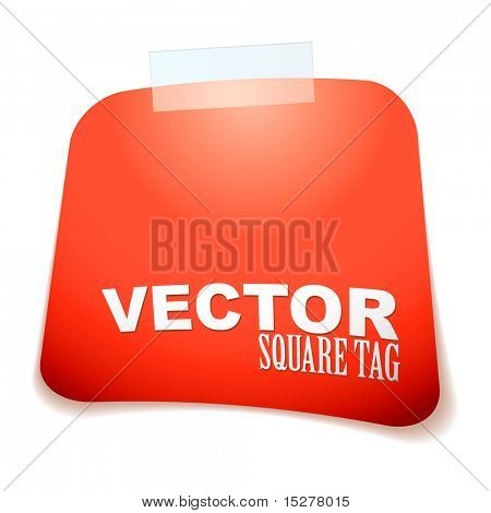 red paper square tag with sticky tape and drop shadow