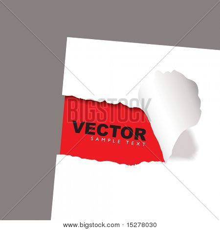 torn paper icon with red background and copy space