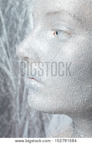 Beautiful amazing portrait of woman. Unreal make up like a space. Closeup shooting in studio with silver background. Emotion posing of model. silver glitter.