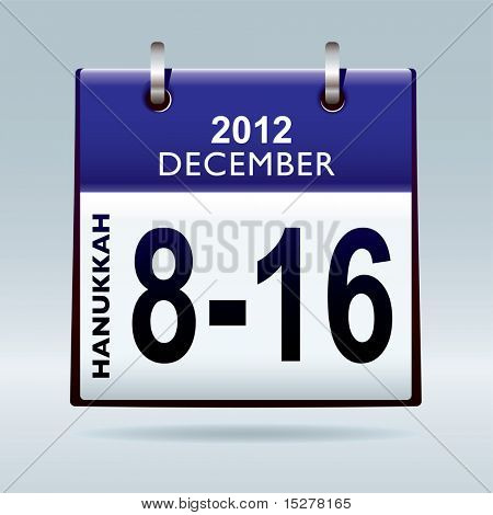 Jewish Hanukkah 2012 dates in december with blue calendar
