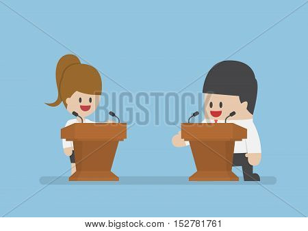 Businessman Debating On The Podium