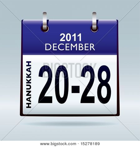 Jewish hanukkah 2011 dates in december with blue calendar