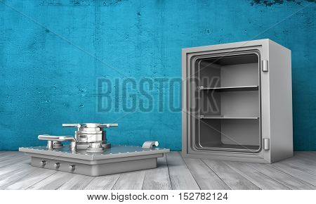 3d rendering of a steel safe box standing on wooden floor with its cover removed lying next to it on the background of blue wall. Empty storage. The cover had been removed from its hinges