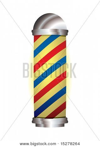 old fashioned barbers pole with red and blue stripes
