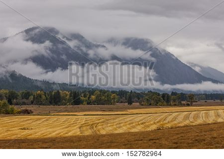 An image of an empty farm field in autumn with cloudy mountains in the background near Winthrop Washington.