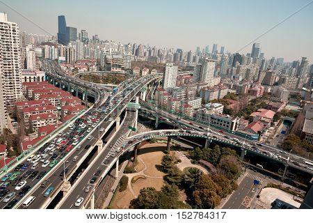 Aerial photography at  shanghia city viaduct bridge