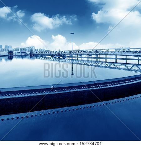 Blue tones of modern urban sewage treatment plants.