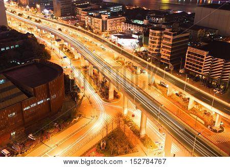 Shanghai interchange viaduct bridge at night scene