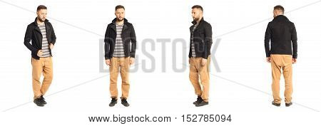 Young Stylish Man In A Black Jacket Isolated On White