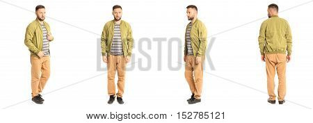 Young Stylish Man In A Lime Jacket Isolated On White