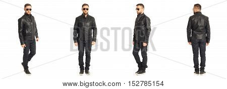 Young Stylish Man In A Leather Jacket Isolated On White