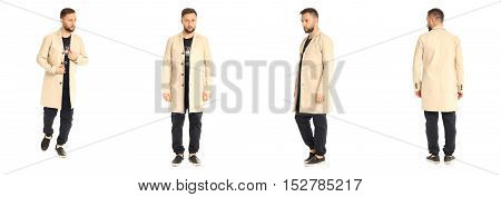 Young Stylish Man In A Coat Isolated On White
