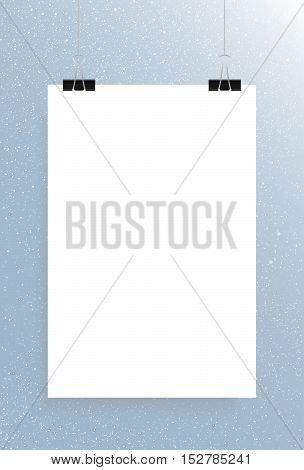 Falling snow vector. White splash on blue background. Winter snowfall hand drawn spray texture. Rectangle, white sheet.