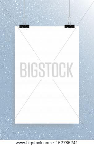 Falling snow vector. White splash on blue background. Winter snowfall hand drawn spray texture. Rectangle, white sheet.