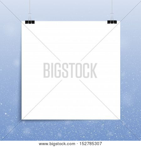 Falling snow vector. White splash on blue background. Winter snowfall hand drawn spray texture. Square. White sheet.