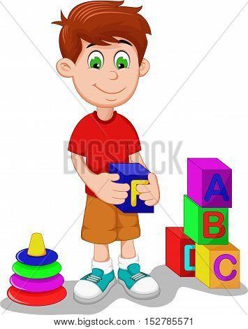 cute boy cartoon playing lego for you design