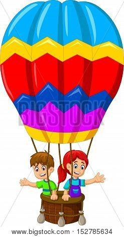 funny two kids cartoon flying in a hot air balloon