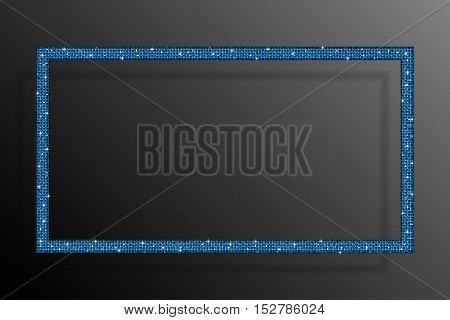 Frame made of blue sequins in the form rectangle. Mosaic sequins glitter sparkle stars.