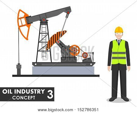 Detailed illustration of businessman, engineer and oil pump in flat style on white background.