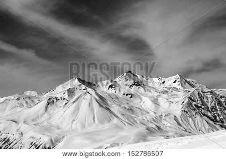 Winter Snow Mountains In Windy Day