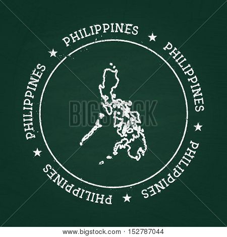 White Chalk Texture Rubber Seal With Republic Of The Philippines Map On A Green Blackboard. Grunge R