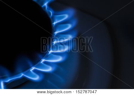 Burner gas stove close-up. Gas burns with a blue flame.