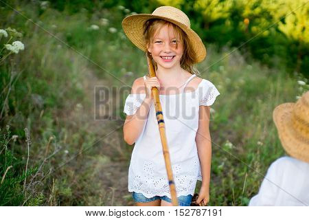 girl on walk warm summer vacations close up