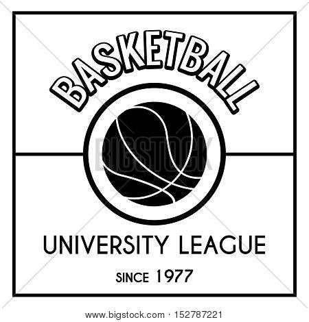 Black and white basketball emblem isolated on white. ector illustratio