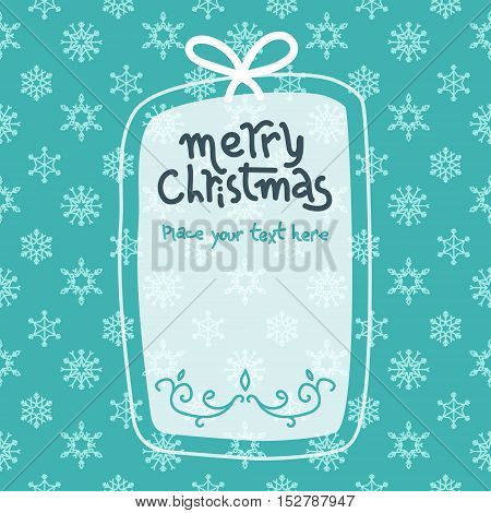 White and blue illustration template in Christmas style