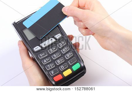 Using Payment Terminal With Contactless Credit Card, Finance Concept