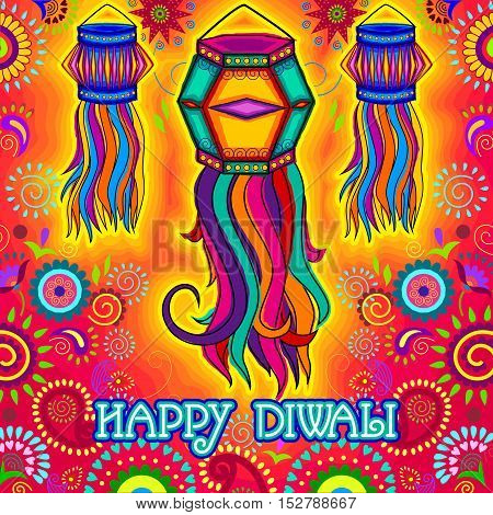 Vector design of Diwali hanging Lamp for Happy Diwali prayer festival of India in Indian art style