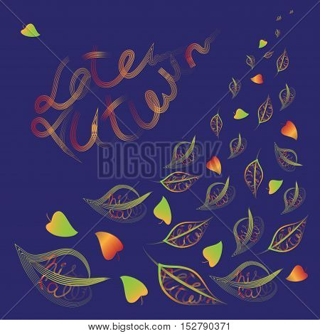 Late autumn.Vector composition with text on the leaves.The background is dark blue.