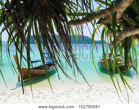 The tropical landscape. Railay Krabi Thailand. View of the rock and boat