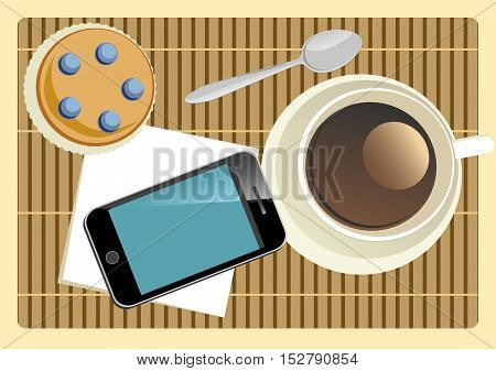 coffe break with cake and mobile phone