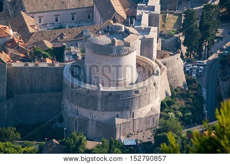 The Minceta Tower dominates the northwestern high part of the city and its walls in Dubrovnik, Croatia.