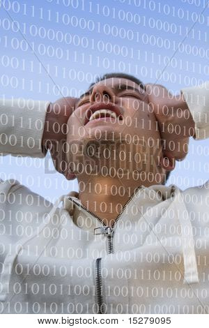 Man holding his head in pain, a layer of numbers floats over him.