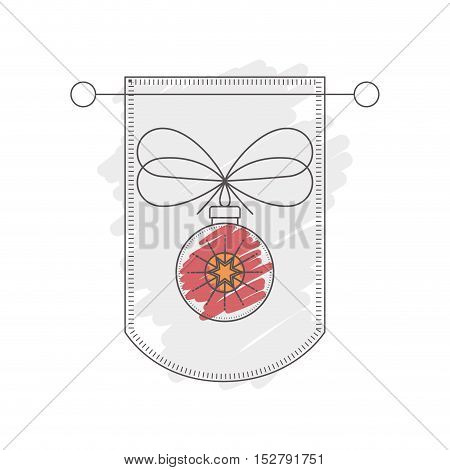 pennant with christmas ball decoration inside. sketch and drawn design. vector illustration