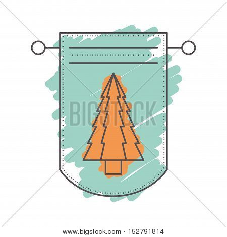 pennant with christmas pine tree decoration inside. sketch and drawn design. vector illustration