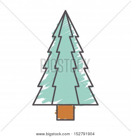 christmas pine tall tree icon. sketch and draw design. vector illustration