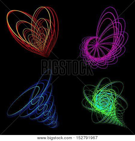Schematic picture of the heart of a flower and a tornado funnel. Logo or icon image abstract natural wonders.