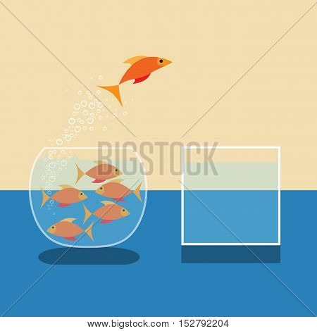 Goldfish jumping out of water. Vector flat design