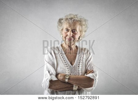 Portrait of classy elderly lady