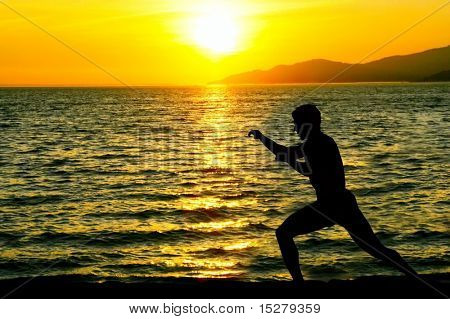 Silhouette of man practicing karate on a sunset beach.