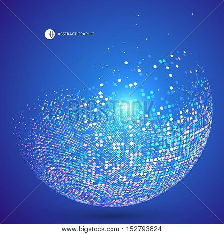 Colorful dots abstract sphere science and technology, vector illustration.