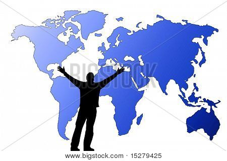 Silhouette of a man in front of a map of the world.
